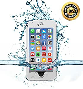 JJX-TECH™ Shockproof Waterproof Snowproof Dirtproof Sweatproof Protection Cover Case for Iphone 6/6s 4.7 inch with Finger Print ID and Built in Kickstand (White)