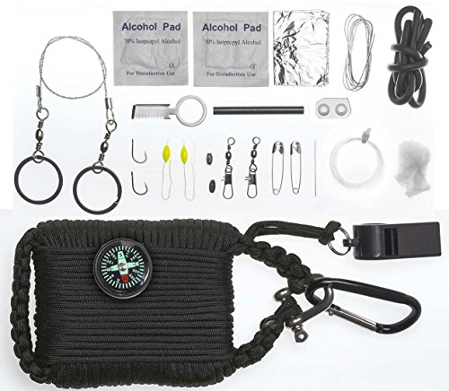 A2S Survival Gear Paracord 30pcs Emergency Kit First Aid Kit & Emergency Food finding Fishing Gear Compass Emergency Whistle Fire Starter set Survival Knife & more (Black, Large) (Kids Power Tools Car compare prices)