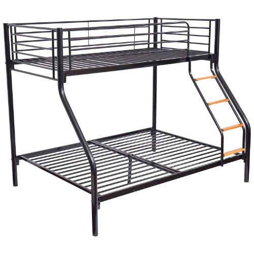 Homcom Bunk Bed Single Double Triple Metal Sleeper Bed Children Kid Frame Furniture Black NEW