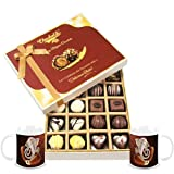 Chocholik Belgium Chocolates - 20pc Milk And White Chocolate Treat With Diwali Special Coffee Mugs - Diwali Gifts