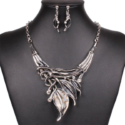 Vintage-Style-Tribal-Gray-Enamel-Leaf-Cluster-Choker-Necklace-Stud-Earrings-Set