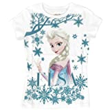 Frozen Elsa Glitter Snowflake White Girls T-Shirt
