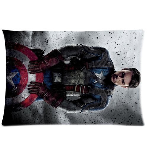 Generic Custom Superhero Series Cool Captain America Unique Printed Zippered Pillowcase Cushion Cover 20*30(Twin Sides) front-1000912
