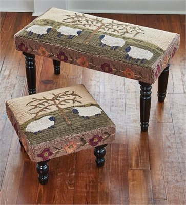 Willow and Sheep Hooked Rug Rectangle 24
