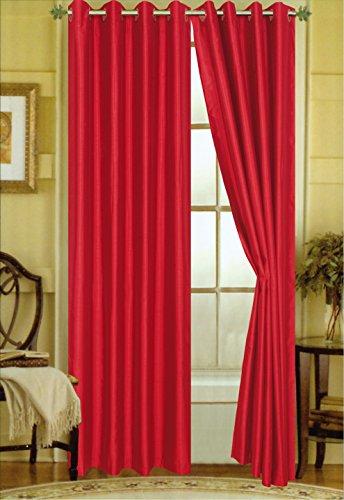 A Pair of 2 Faux Silk Grommet Curtain Panels (Red, 58