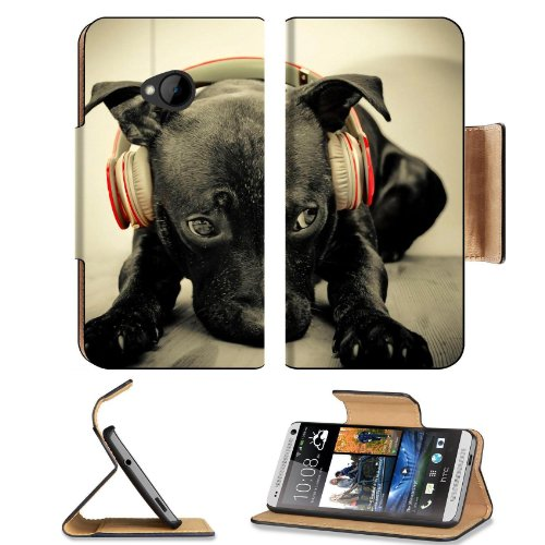 Labrador Retriever Dog Puppu Pet Animal Headphones Htc One M7 Flip Cover Case With Card Holder Customized Made To Order Support Ready Premium Deluxe Pu Leather 5 11/16 Inch (145Mm) X 2 15/16 Inch (75Mm) X 9/16 Inch (14Mm) Liil Htc One Professional Cases A