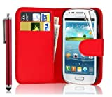 Leather Wallet Flip Case Cover for Samsung Galaxy Young GT-S6310 Young Duos GT-S6312-FREE SCREEN GUARD+STYLUS PEN (Red)