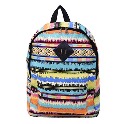 Multi Color Zig Zag Chevron Sound Waves Canvas Backpack School Travel Shoulder Bag