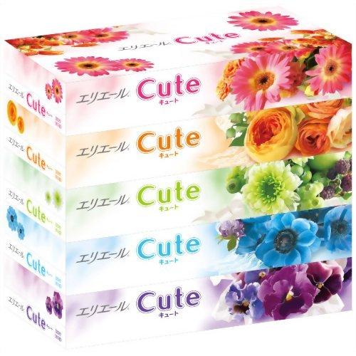 大王製紙 エリエール ティシュー キュート 320枚(160組)×5個パック お得なボックスティッシュ ×12点セット (4902011712315)