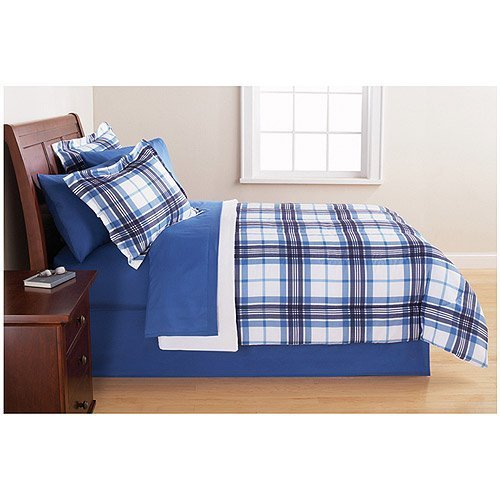 Bedding Set Complete 6pc Boy Blue Plaid College Dorm Reversible Twin/Twin Comforter and Bedding Set