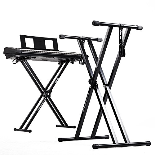 Duronic KS2B Black Height Adjustable High Quality Twin X Frame Keyboard Stand With A Quick Pull Release Mechanism and [[ ORIGINAL ]] Screw N Strap to secure keyboard to the stand