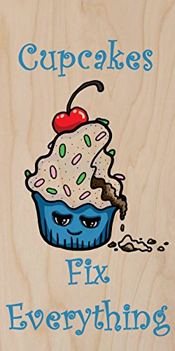 """""""Cupcakes Fix Everything"""" Food Humor Cartoon - Plywood Wood Print Poster Wall Art front-289171"""