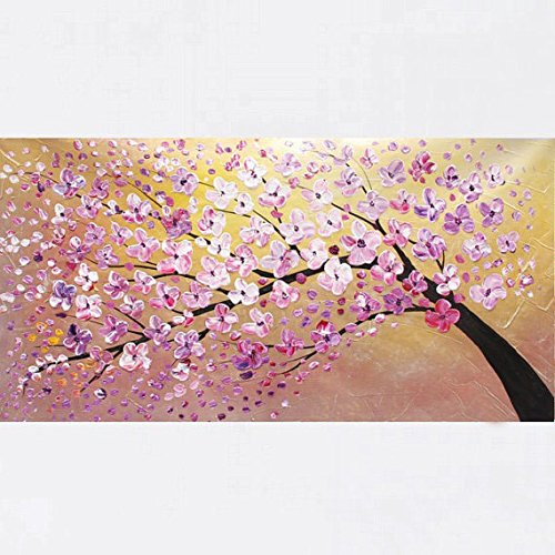 Xm Art-Delicate And Charming Pink Plum Blossom Palette Knife Landscape Oil Painting On Canvas Wall Art Deco Home Decoration(Unstretch And No Frame)