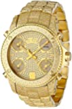 "JBW Men's JB-6213-A ""Jet Setter"" Gold Five Time Zone Diamond Watch"