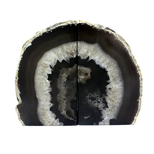 Crystal Allies Gallery: Pair of Small Polished Agate Geode Halves Bookends w/ Authentic Crystal Allies Stone Card - 1lb to 3lb