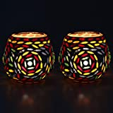 EarthenMetal Handcrafted Colourful Beads Decorated Tealight Holder (Candle Light Holder)- Set Of 2