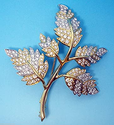 Schlumberger 18k Gold & Platinum Tiffany Genuine Natural Diamond Brooch (#3061)