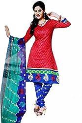 Kamal Women's Cotton Red Printed Dress Material