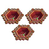 DollsofIndia Set Of Three Hand Painted Maroon Hexagonal Diya - Terracotta