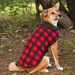 Fashion Pet Outdoor Dog Plaid Fleece Jacket, X-Large, Red