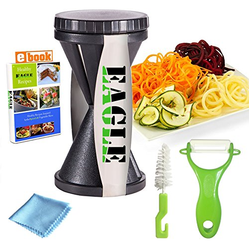 Spiralizer Spiral Slicer  Sharp Stainless Steel Cut Wire - Best Kitchen Tool for Slicing of Spaghetti &Zoodle Maker, Vegetable Vegetti, Zoodler, Veggetti, Zucchini and Julienne Peeler (Wire Twister Machine compare prices)