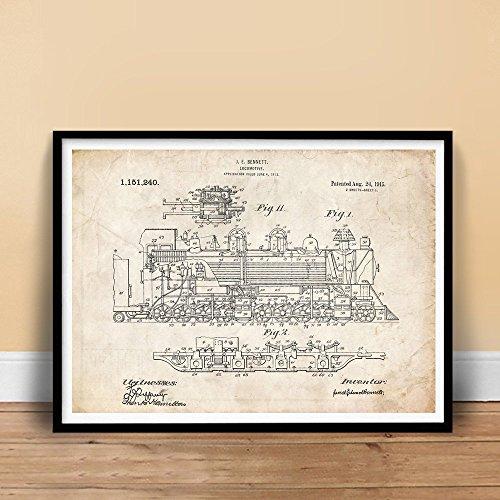 VINTAGE STEAM LOCOMOTIVE 1915 US PATENT ART POSTER PRINT 18X24 BENNETT TRAIN ENGINE GIFT UNFRAMED, Matte Paper (Vintage Train Engine compare prices)