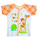 Baby Bucket Half Sleeve Front Open Animal Printed Jabla New Born (Peach)
