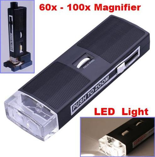 Great 60X-100X Magnifying Glass Handheld Magnifier Loupe Led Pocket Microscope