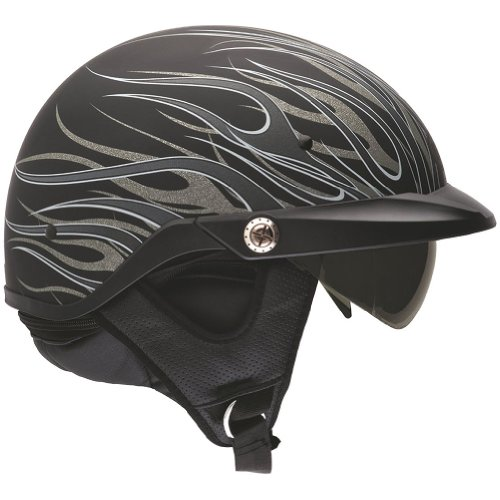 Bell Flames Pit Boss Harley Cruiser Motorcycle Helmet - Matte Titanium / Large