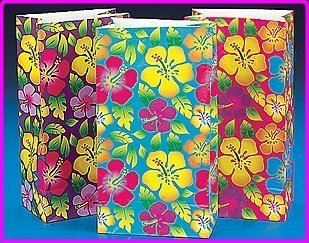 Fun Express Luau Party Supplies Hibiscus Paper Bags (12 Piece)