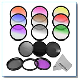 Essential 72MM Lens Filter Kit for DSLR Cameras CANON (EF 35mm f/1.4L EF 85mm f/1.2L II EF 135mm f/2L) NIKON (85mm f/1.4 18-200mm f/3.5-5.6G) Lenses - Includes: Graduated Color Filter Kit (Red Pink Purple Yellow Orange Coffee Green Blue and Gray) + Filter Kit (UV Polarizer Fluorescent) + Neutral Density Filter Set (ND2 ND4 ND8) + Premium MagicFiber Microfiber Cleaning Cloth