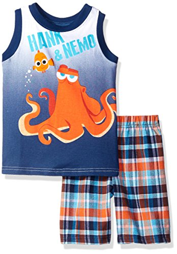 Disney Boys' 2 Piece Finding Dory Hank and Nemo Plaid Muscle Tee Short Set
