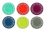 Villa D'Este Mukonos Set di 6 Sottopiatti Colorati, Metallo, Multicolore, 33X33X1.5 cm