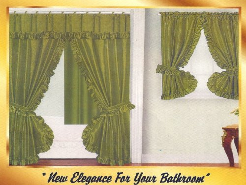 Bathroom Window Curtains Green Fabric Double Swag Shower Curtain With Matching Window Curtain
