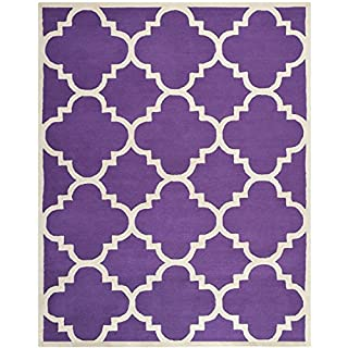 Safavieh Cambridge Collection CAM140K Handmade Wool Area Rug, 8-Feet by 10-Feet, Purple and Ivory