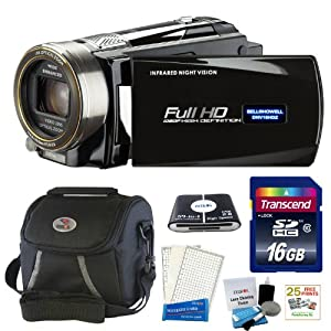 Bell and Howell DNV16HDZ-BKFull 1080p HD 16MP Infrared Night Vision Camcorder (Black) + 16 GB Accessory kit & 25 Free Prints