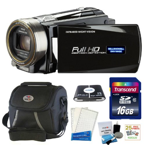Sale Bell and Howell DNV16HDZ-BKFull 1080p HD 16MP Infrared Night Vision Camcorder (Black) + 16 GB Accessory kit & 25 Free Prints