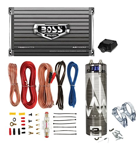 Boss AR2400.4 2400W 4-Ch Amplifier with Remote with 2.0 Farad Capacitor with Amp Kit (Bass Knob Boss compare prices)