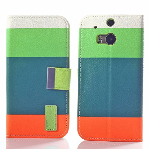 Mylife Vine Green + Orange + Lime {Elegant Striped Design} Faux Leather (Card, Cash And Id Holder + Magnetic Closing) Slim Wallet For The All-New Htc One M8 Android Smartphone - Aka, 2Nd Gen Htc One (External Textured Synthetic Leather With Magnetic Clip