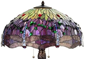Meyda Tiffany 31112 Tiffany Hanginghead Dragonfly Collection 3-Light Table Lamp, Mahogany Bronze Finish with Dragonfly Stained Glass Shade