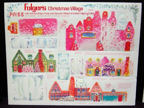 Vintage Folger's Coffee Die Cut Christmas Village