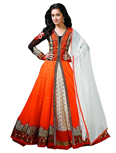 Sancom-Orange-Semi-Stitched-Georgette-Net-Anarkali-Salwar-Suit-Dress-Material