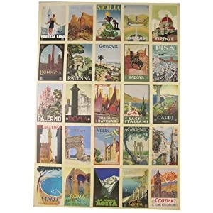Italian Postcards Vintage Look Cavallini Papers Decorative Wrap, 20 by 28 inches