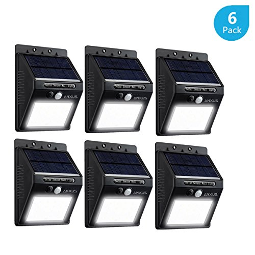 Anxus Bright 16 LED Outdoor Solar Powered Lights ,Wireless Waterproof Security Motion Sensor Light for Patio, Deck, Yard, Garden,Driveway,Outside Wall ,Fence (6 Pack ,White) (Lumen Time Freeze compare prices)