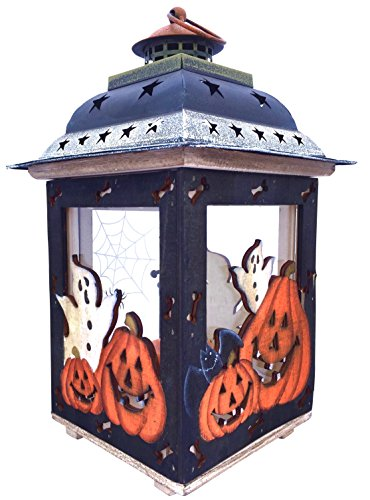 Halloween Candle Holder Lantern with Spooky Ghosts , Pumpkins , Spider Webs - Hand Painted Decorations - Glass Wood Tin - Fall Autumn Decor - Handmade Keepsake (12.5