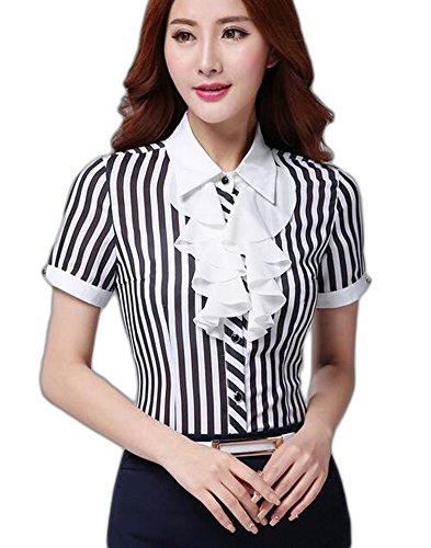 Aro Lora Women's Shirt Sleeve Striped Ruffled OL Work Shirt Blouse