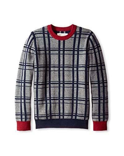 Barque Men's Check Sweater with Contrast Trim