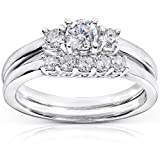 Diamond Wedding Ring Set 1/2 carat (ctw) in 14k White Gold