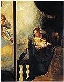 WallsnArt, Figurative Modern Framed Art Work Canvas Gallery Wrap,Virgin Of Annunciation, Detail From Annunciation, By Andrea Schiavone (Ca 1500-1563), Church Of San Pietro, Belluno, Veneto, Italy, 16th Century