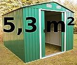 Gartenhaus Geräteschuppen 5,3m² aus verzinktem Stahlblech...